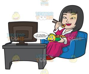 Watching tv and eating clipart svg download An Asian Woman Eating Chinese Food While Watching Tv svg download