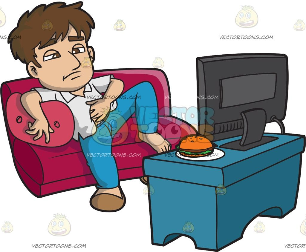 Watching tv and eating clipart clipart royalty free stock A Lazy Man Eating And Watching Tv All Day : A man with brown ... clipart royalty free stock