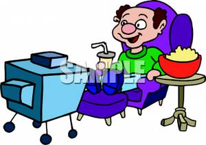 Watching tv and eating clipart svg black and white library A Man Eating Popcorn and Watching TV - Royalty Free Clipart ... svg black and white library