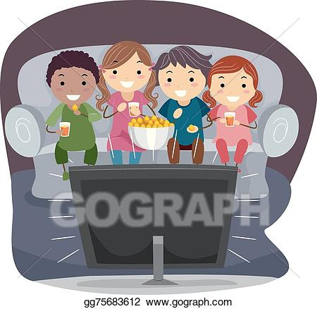 Watching tv and eating clipart png download Vector Clipart - Stickman kids watching tv. Vector ... png download