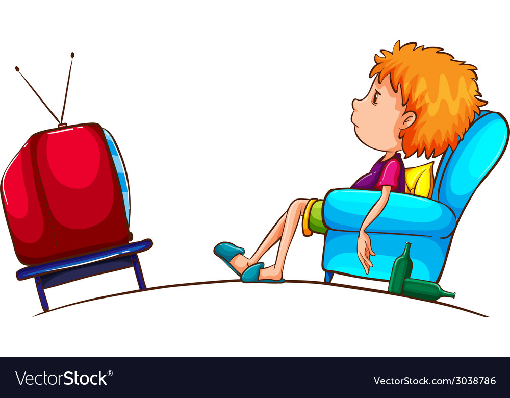 Watching tv clipart free vector picture free download A sketch of a lazy boy watching TV picture free download
