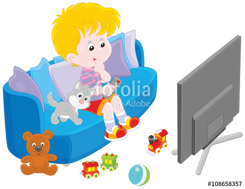 Watching tv clipart free vector picture royalty free Little boy sitting on the sofa and watching TV\