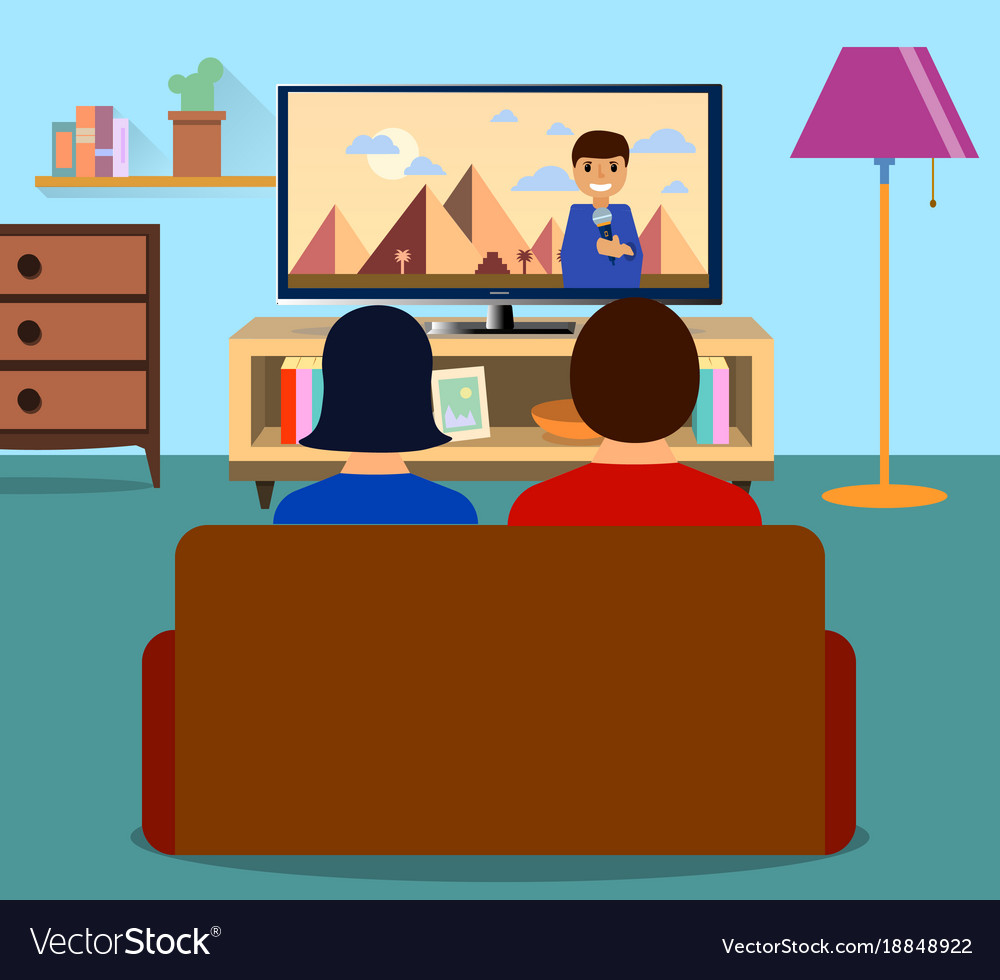 Watching tv clipart free vector jpg transparent download Family man and women watching tv daily news jpg transparent download
