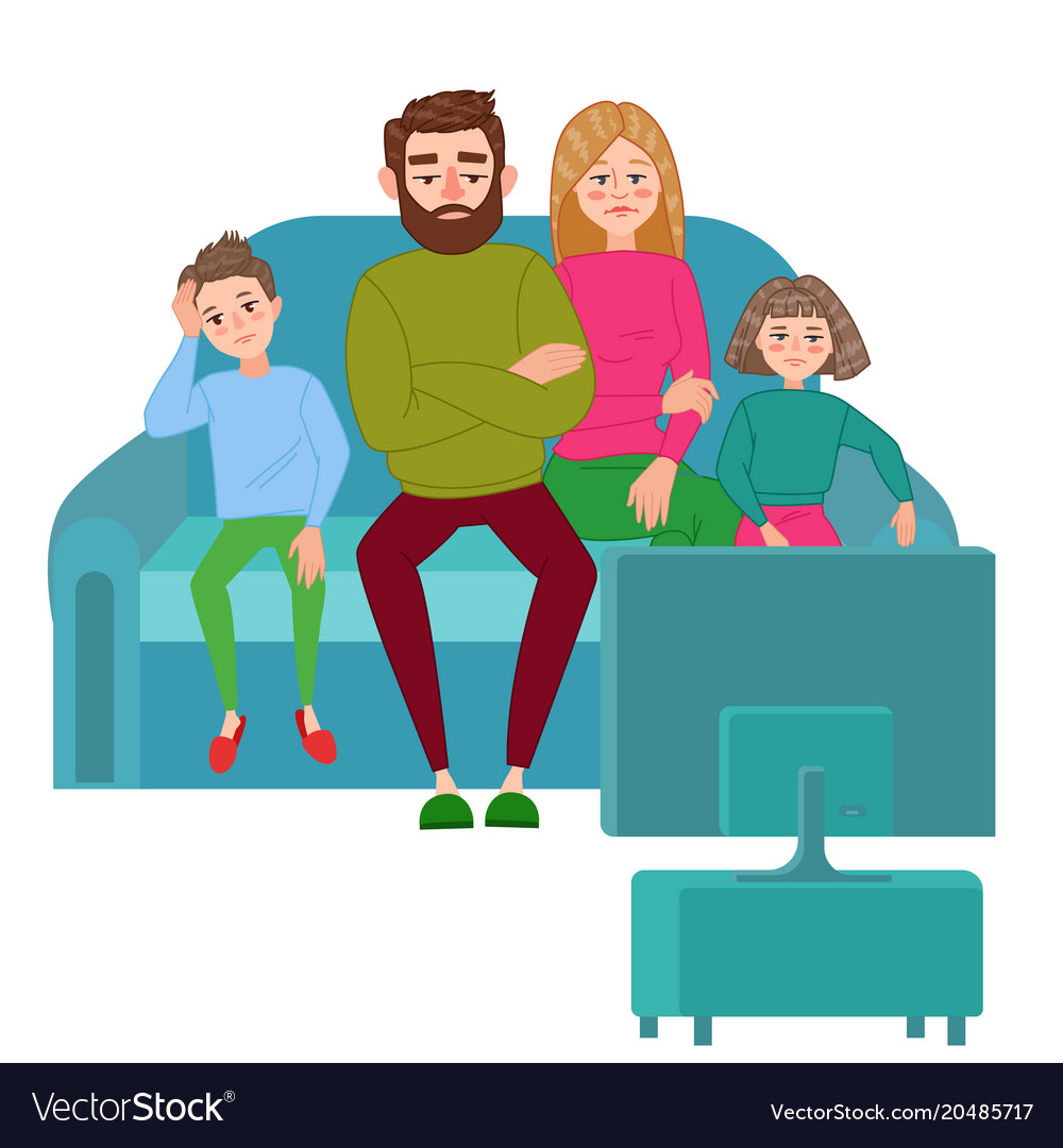 Watching tv with the family clipart image Bored family watching tv television addiction image