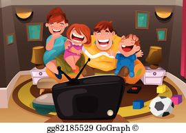 Watching tv with the family clipart vector freeuse stock Watching Television Clip Art - Royalty Free - GoGraph vector freeuse stock