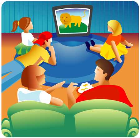 Watching tv with the family clipart library Stock Illustration - Family watching TV together library