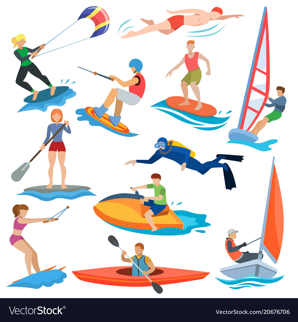 Water activity clipart banner free stock Water sport people in extreme activity or banner free stock