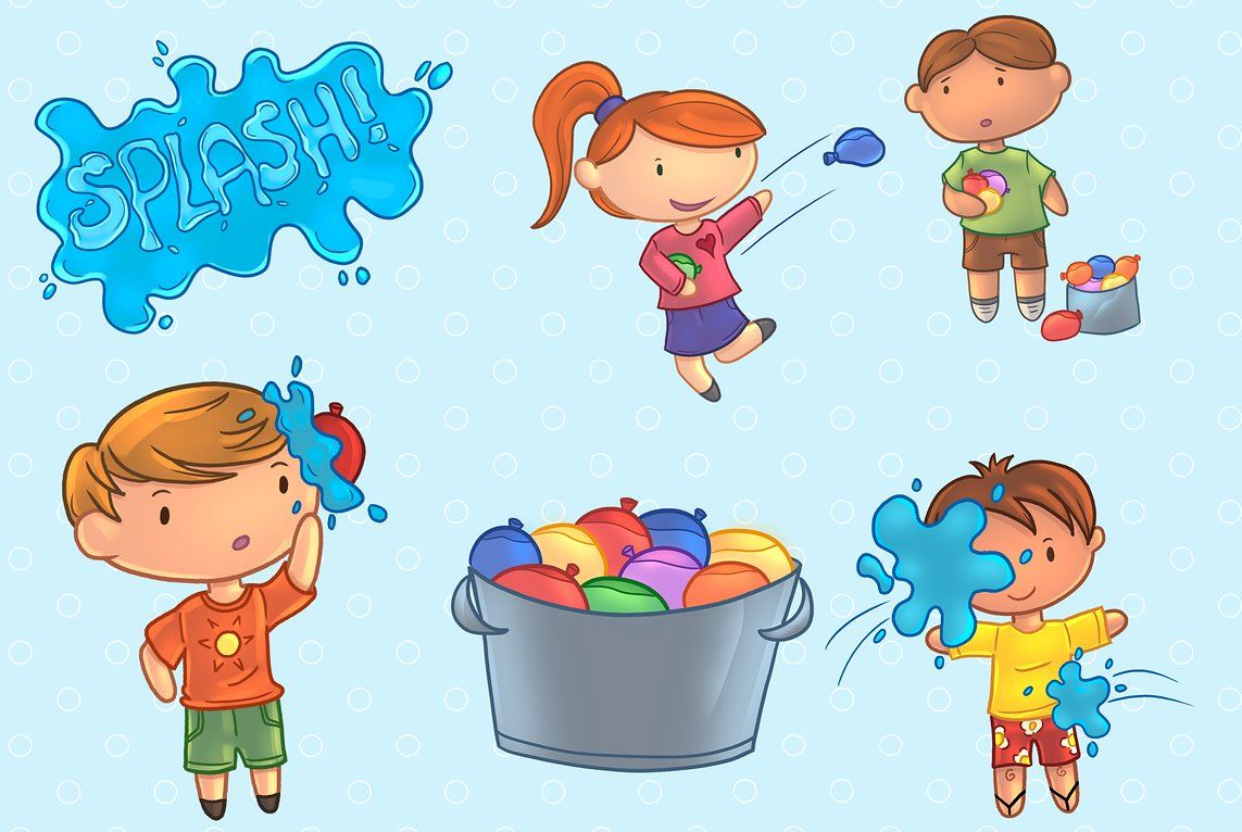 Water balloon fight clipart picture freeuse library Water Balloon Fight Clip Art #turned#Clip#Art#cute   cc ... picture freeuse library