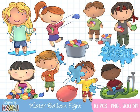 Water balloon fight clipart svg transparent library Water Balloon Fight Clip Art Set Cute Kids Waterballoon ... svg transparent library