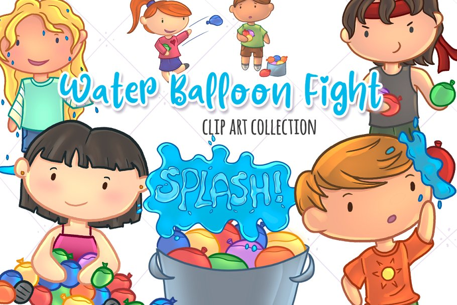 Water clipart cute png royalty free Water Balloon Fight Clip Art png royalty free