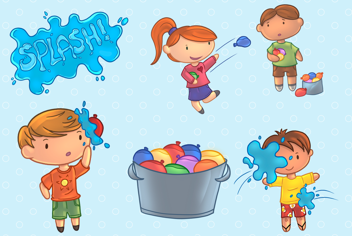 Water balloons clipart vector freeuse Water Balloon Fight Clip Art Collection vector freeuse