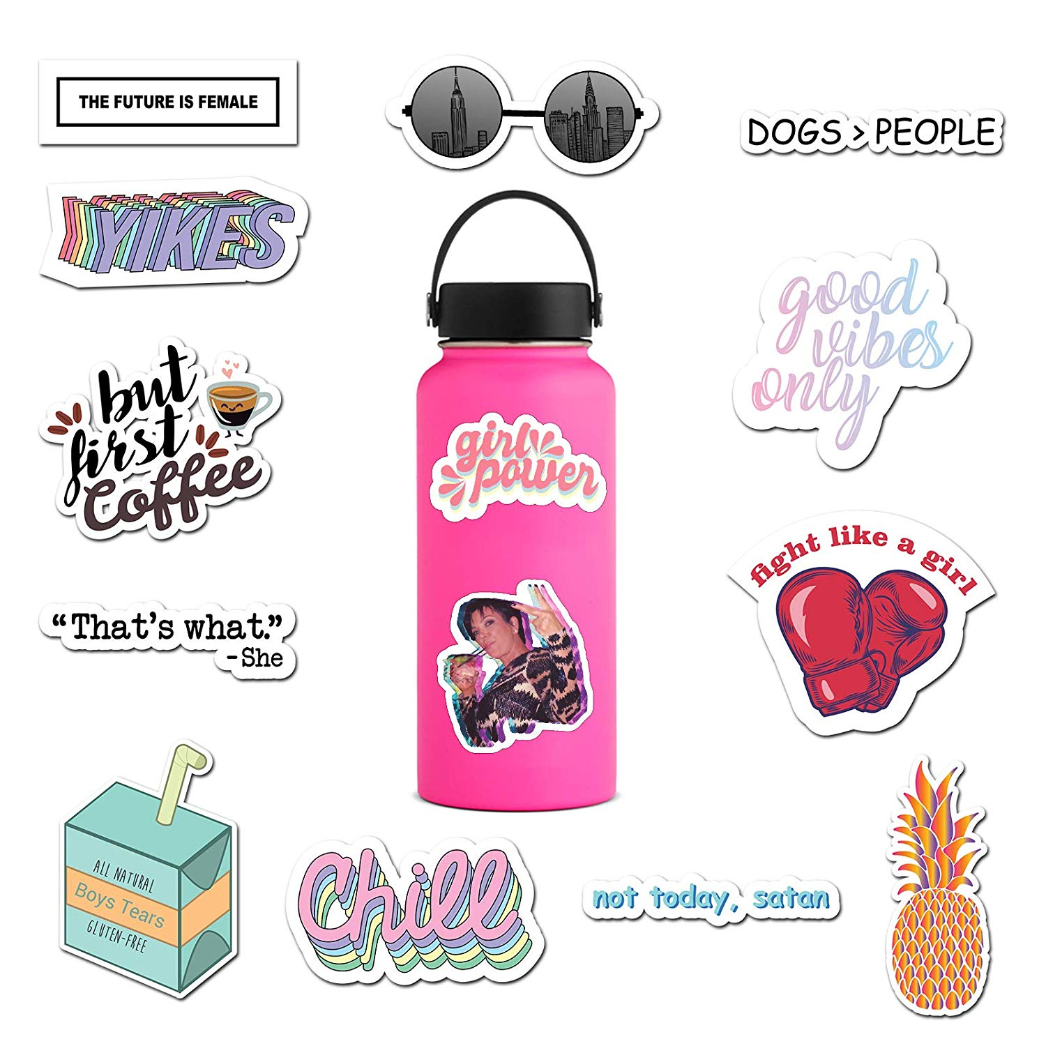 Water bottle cute clipart png transparent RipDesigns - 14 Feminist Stickers for Water Bottles, Laptops (Series 2) png transparent