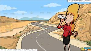 Water by road clipart clip art black and white A Woman Drinking From A Bottle Of Water and A Canyon Road Background clip art black and white