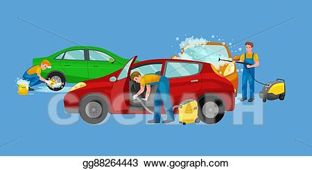 Water by road clipart freeuse download Vector Illustration - Car wash services, auto cleaning with ... freeuse download