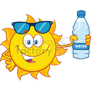 Water clipart cute library cute sun cartoon mascot character with sunglasses holding a water bottle  with text vector illustration isolated on white background clipart. ... library
