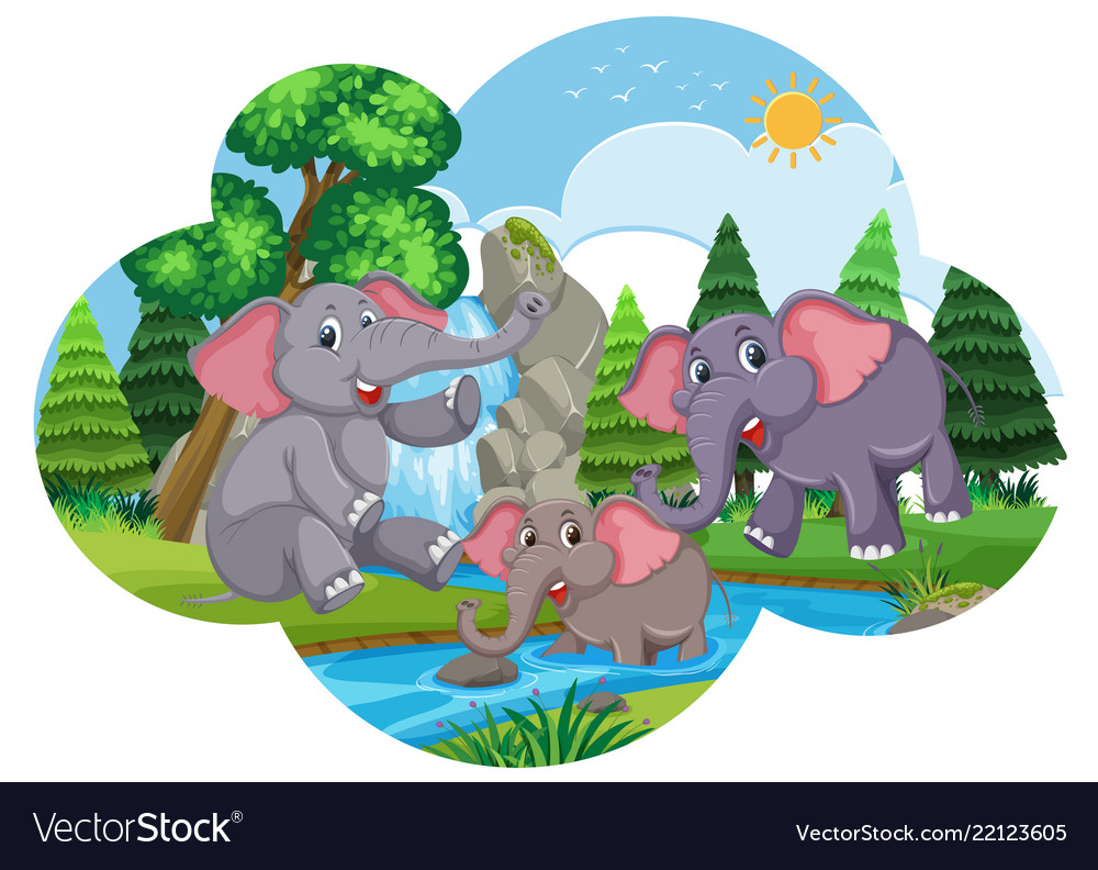 Water clipart cute picture freeuse library Cute elephants playing in water picture freeuse library