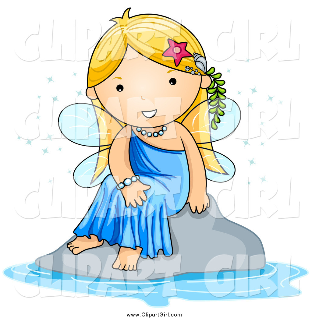 Water clipart girl stock Clip Art of a Cute Blond White Fairy Sitting by Water by BNP ... stock