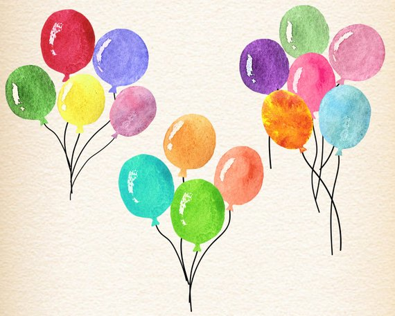 Water color balloon clipart png black and white library Watercolor balloons, watercolour balloon clipart, birthday ... png black and white library