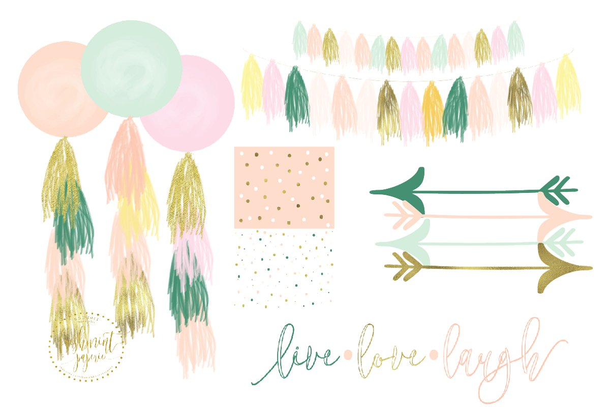 Water color balloon clipart banner library watercolor balloon tassels clipart banner library