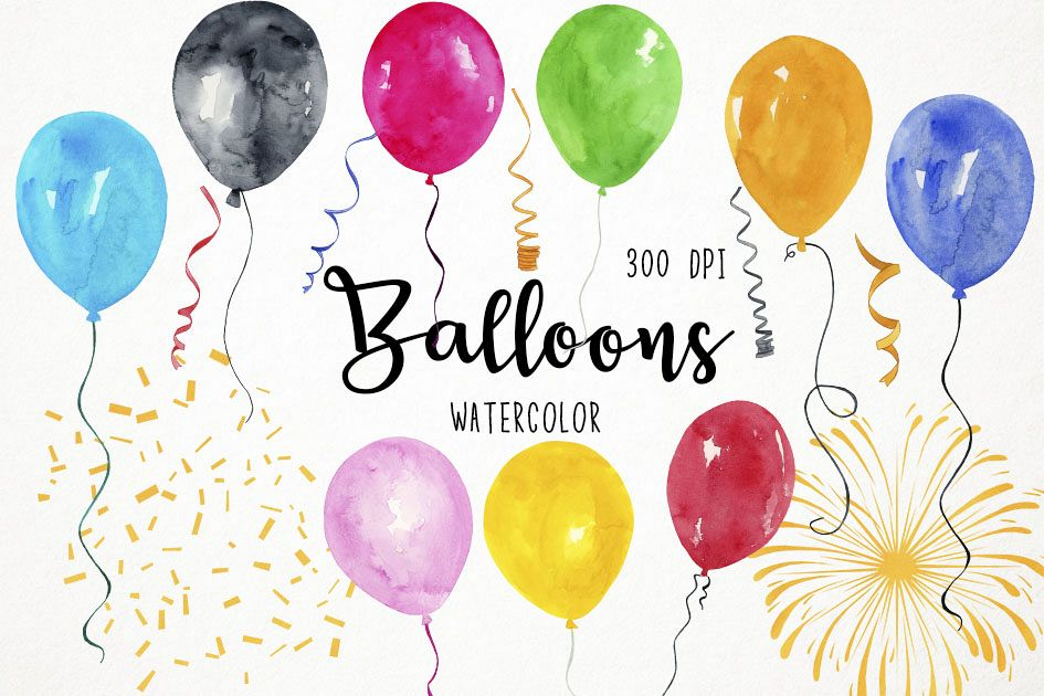 Water color balloon clipart svg library Watercolor Balloons Clipart, Balloons Clip art, Balloons PNG svg library