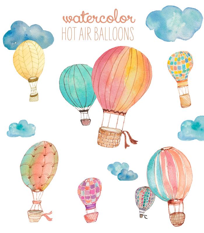 Water color balloon clipart clip art royalty free download Watercolor Clip Art Hot Air Balloons clip art royalty free download