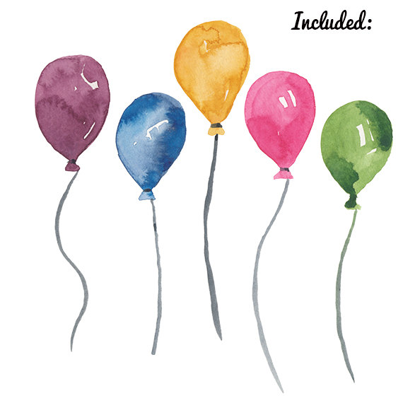 Water color balloon clipart clip art black and white download Watercolor Balloon clipart birthday party clip art Balloons ... clip art black and white download
