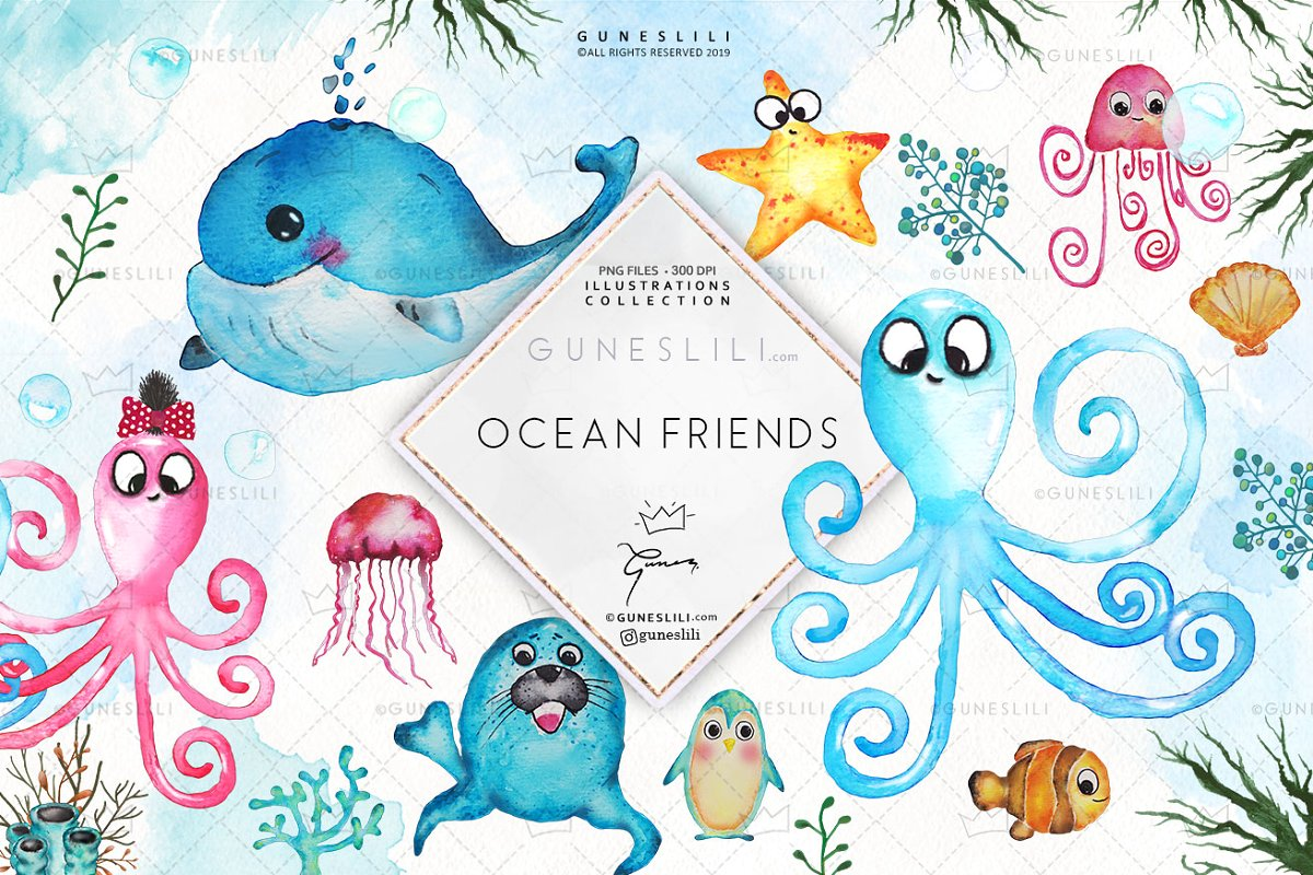 Save the ocean clipart picture freeuse stock Baby Sea Animals Clipart Watercolor picture freeuse stock