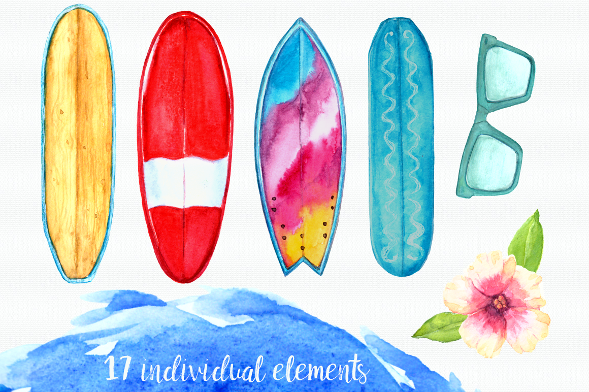 Water color surfboard clipart svg free Watercolor Surf Clip Art Set By TatiBordiu Watercolor ... svg free