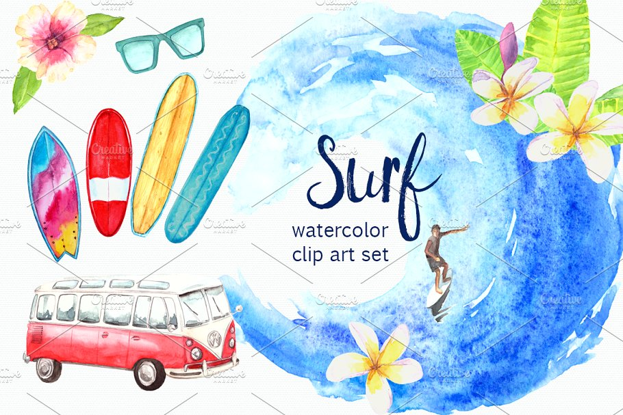 Water color surfboard clipart svg free library Watercolor Surf Clip Art Set ~ Illustrations ~ Creative Market svg free library