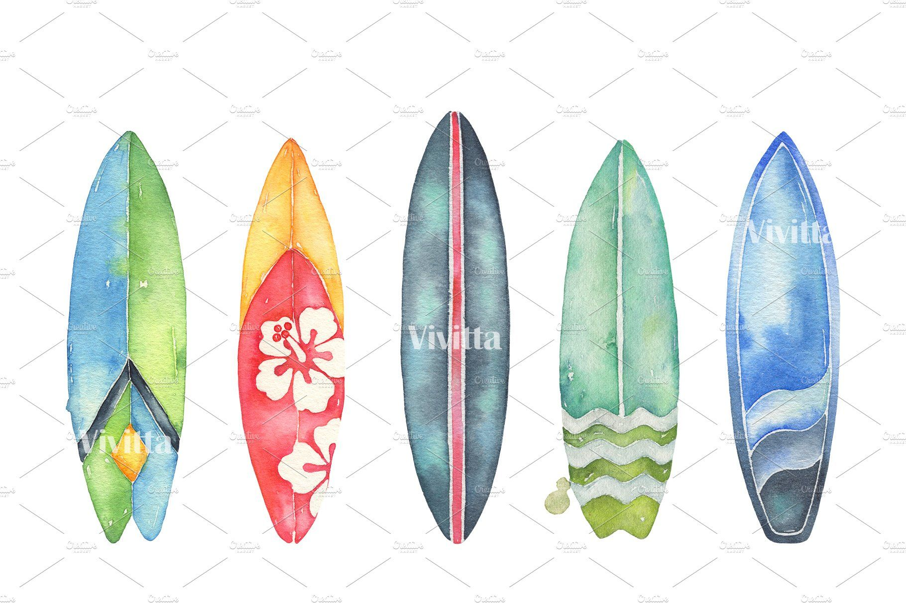 Water color surfboard clipart jpg black and white Surfing watercolor clipart set watercolor#set#Surfing ... jpg black and white