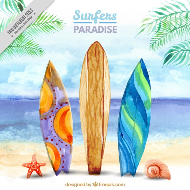 Water color surfboard clipart png download Surf Watercolor at PaintingValley.com | Explore collection ... png download