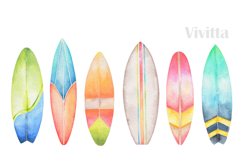 Water color surfboard clipart picture library download Surfing collection watercolor cliparts By Vivitta ... picture library download