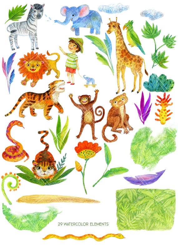 Water color zoo animals clipart svg royalty free library Watercolor Jungle animal clipart, safari zoo baby shower ... svg royalty free library