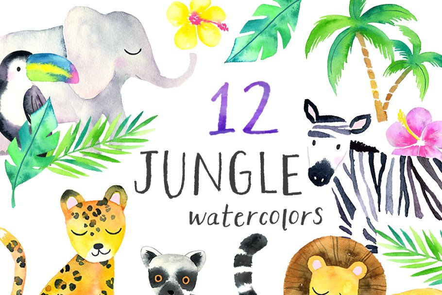 Water color zoo animals clipart image royalty free Watercolor Safari Animals Clipart image royalty free