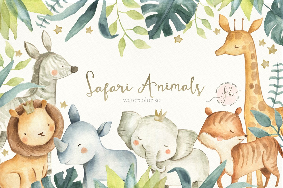 Water color zoo animals clipart svg transparent download Safari Animals ~ Graphics ~ Creative Market svg transparent download