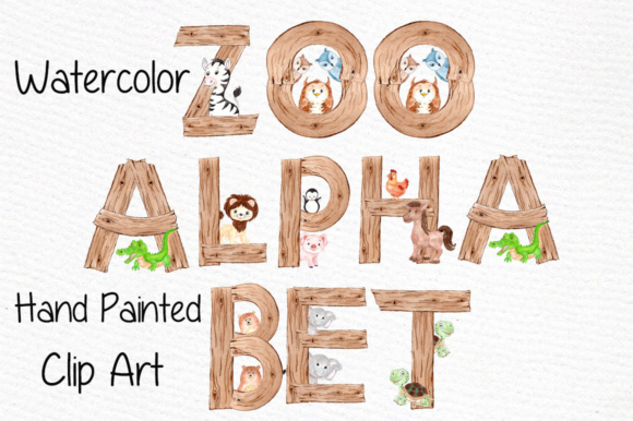 Water color zoo animals clipart banner royalty free stock Watercolor Zoo Animal Alphabet Clipart banner royalty free stock