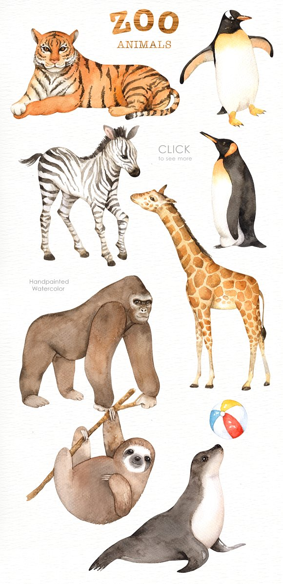 Water color zoo animals clipart banner freeuse download Zoo Animals Watercolor clipart banner freeuse download