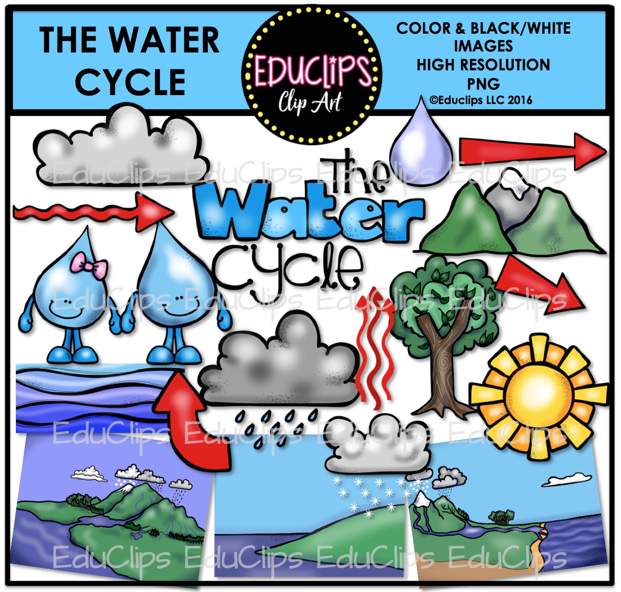 Water cycle clip art png library download The Water Cycle Clip Art Bundle (Color and B&W) | Welcome to ... png library download