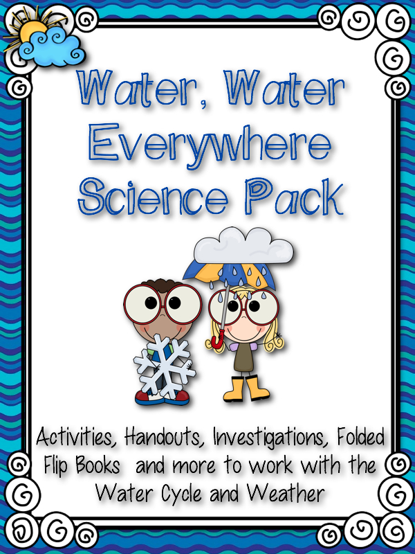 Water cycle clipart frame graphic black and white Buzzing with Ms. B: Water, Water Everywhere! Water Cycle & Weather ... graphic black and white
