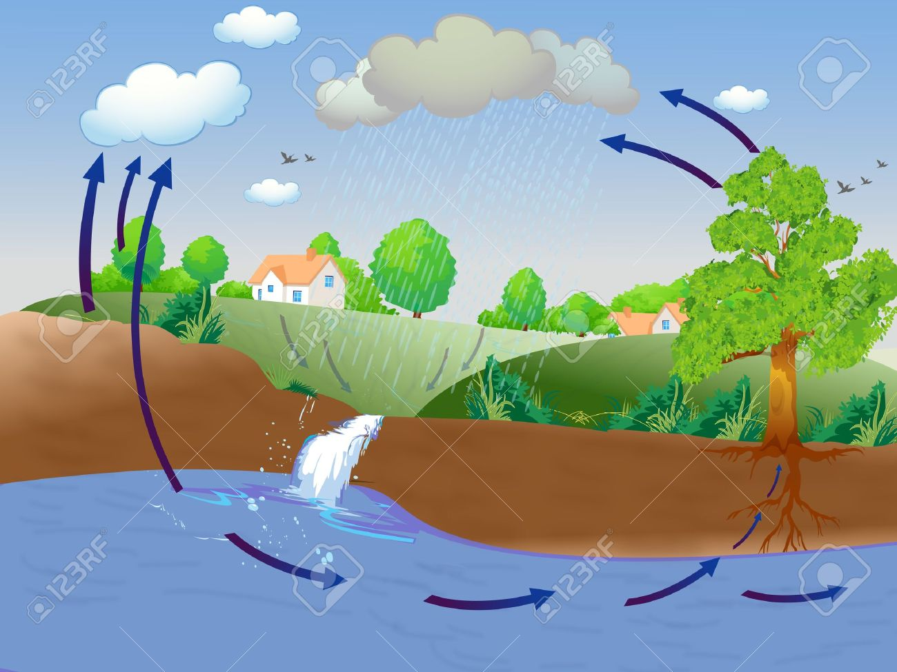 Water cycle clipart frame png royalty free Water cycle clipart frame - ClipartNinja png royalty free