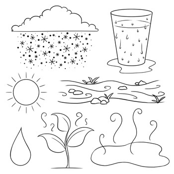 Water cycle clipart in black and white vector library Water Cycle Clip Art vector library