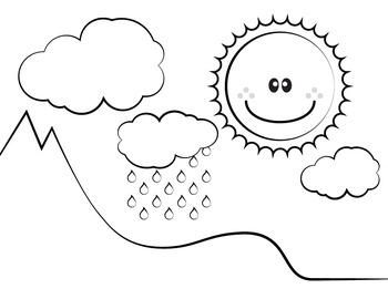 Water cycle clipart in black and white graphic stock Water Cycle - Clip Art (Cloud, Sun, Mountain, Rain, Arrows, Tree) graphic stock