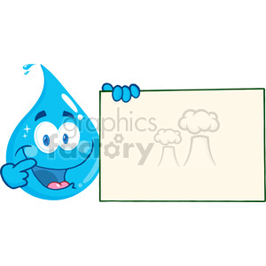 Water drop character clipart clip art library stock 12872 RF Clipart Illustration Happy Water Drop Cartoon Character Holding A  Blank Sign clipart. Royalty-free clipart # 385112 clip art library stock