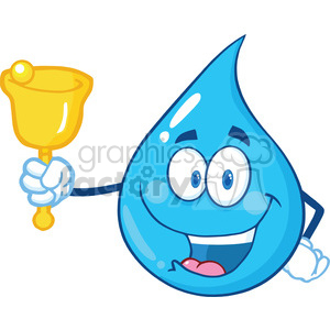 Water drop character clipart png royalty free download Water Drop Character Waving A Bell For Donation clipart. Royalty-free  clipart # 395967 png royalty free download