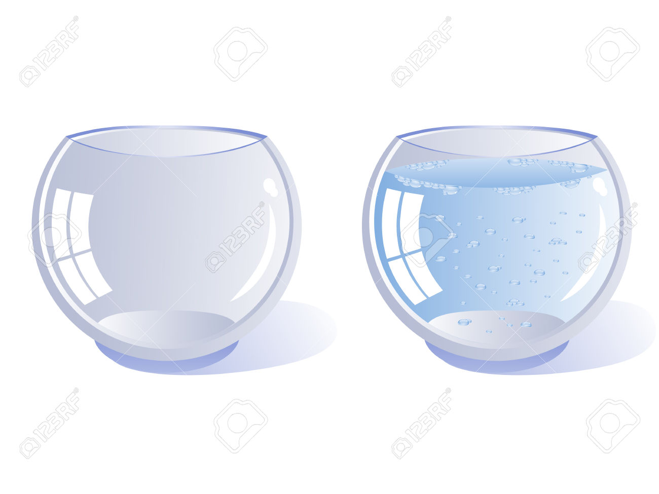 Water filled aquarium clipart graphic black and white download Two Transparent Glass Vessel Rounded. One Empty And One Filled ... graphic black and white download