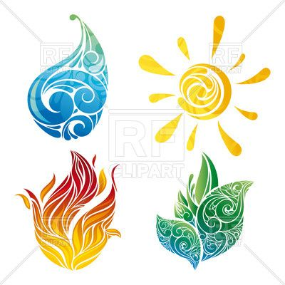 Water fire clipart png stock Abstract sun, leaf, water and fire symbols Vector Image ... png stock