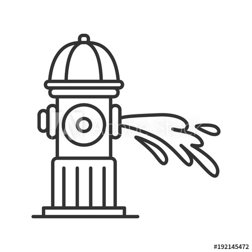 Water gushing clipart vector black and white download Fire hydrant gushing water linear icon - Buy this stock ... vector black and white download