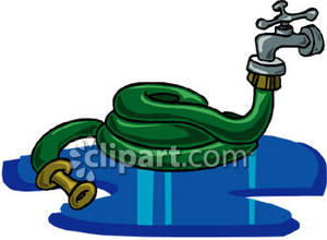 Water hoses clipart black and white download Thick Garden Hose Attached To a Faucet - Royalty Free ... black and white download