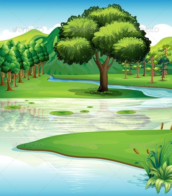 Water landscape clipart picture freeuse library Illustration of the land and water resources | vector ... picture freeuse library