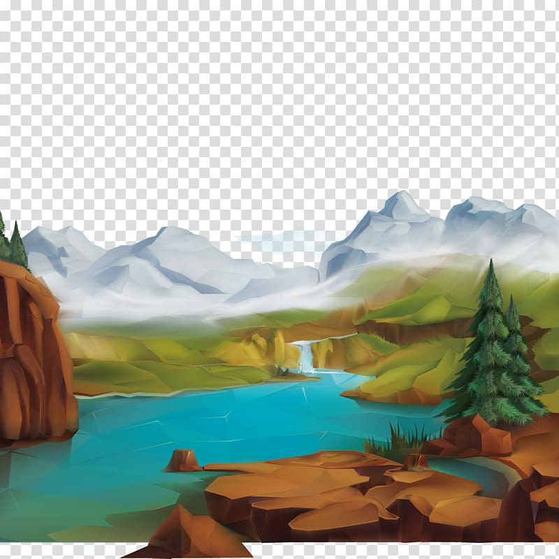 Water landscape clipart png library stock Mountain peak near body of water, Natural landscape Nature ... png library stock